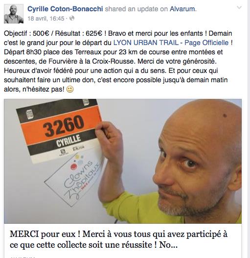 Courir pour les enfants hospitalisés, Lyon Urban Trail: Bravo Cyrille !